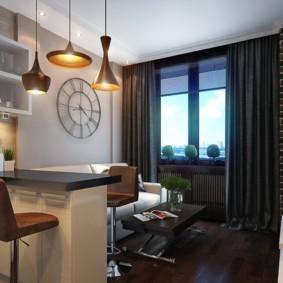 Интерьер кухни-гостиной с темными шторами