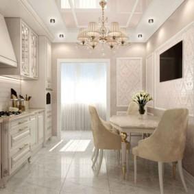 Глянцевый пол в кухне с диваном