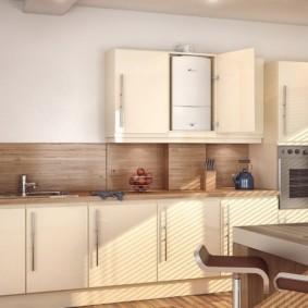 Кухонный гарнитур с кремовыми фасадами