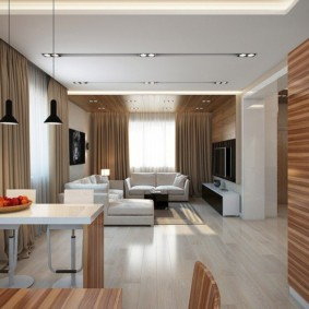 Дизайн современной кухни-гостиной в частном доме