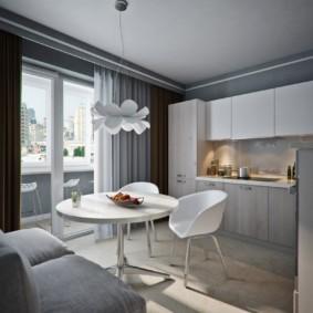 Дизайн небольшой кухни с дверью на балкон