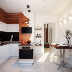 Дерево в отделке кухонного помещения