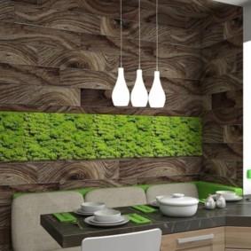 Зеленая панель на кухне в эко-стиле