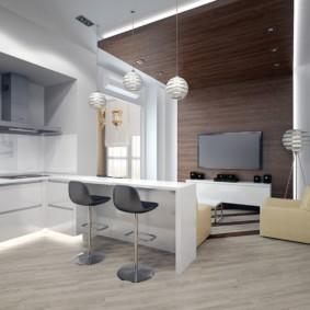 Дизайн квартиры студии с деревянными панелями