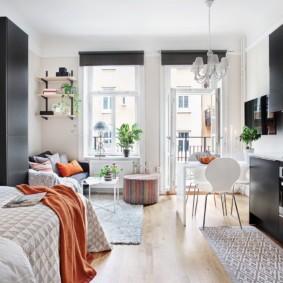 Скандинавская квартира студия с балконом