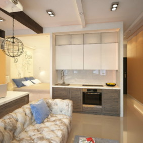 Дизайн квартиры с прямым гарнитуром