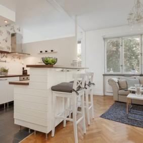Барная стойка в виде кухонного острова