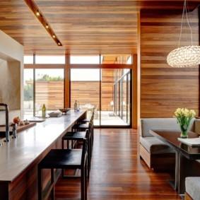 Отделка потолка кухни ламинированными панелями