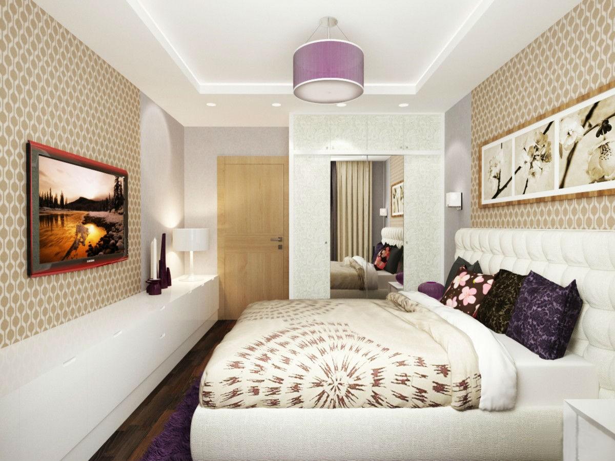 спальня в прямоугольной комнате дизайн фото пористый