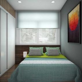 Дизайн спальни с рулонной шторой