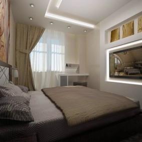 Двухуровневый потолок в спальне с телевизором