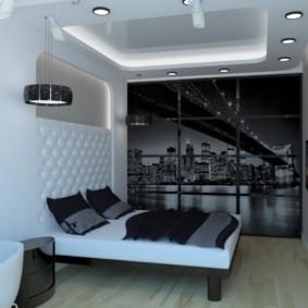 Подсветка потолка в небольшой спальне