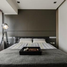 Серый цвет в спальне минималистического стиля