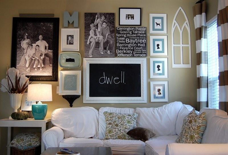 Декор фотографиями стены в кухне-гостиной