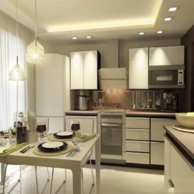 Дизайн кухни с белыми шторами