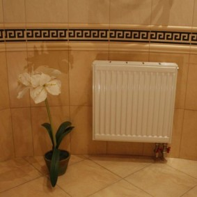 Бежевая плит в ванной комнате
