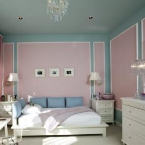 Розовая спальня в классическом стиле