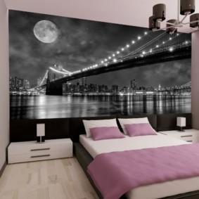 Фотообои в дизайне спальной комнаты