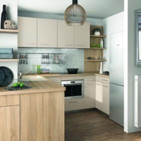Рабочая зона кухни гостиной
