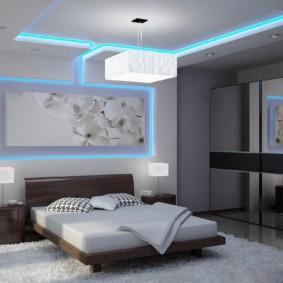 Неоновая подсветка в интерьере спальни