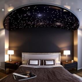 Декор спальни с помощью имитации звездного неба
