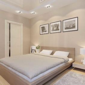 Декор модульными картинами стены спальни