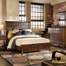 Стильная спальня в деревенском доме