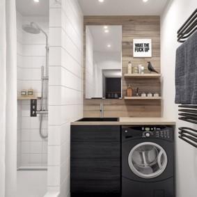 Дизайн небольшого санузла с душем в нише