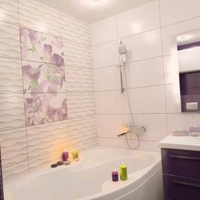 Керамическая плитка с 3d эффектом на стене ванной