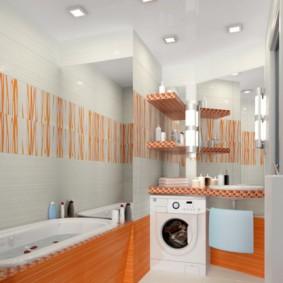 Оранжевый цвет в современной ванной