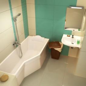 Акриловая ванна на сером полу