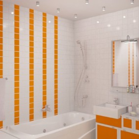 Акценты оранжевого цвета в интерьере белой ванной