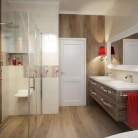 Акценты красного цвета в ванной комнате
