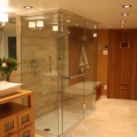 Керамический пол в совмещенной ванной