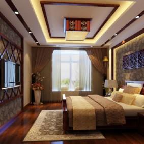 Гипсокартонный потолок в спальной комнате