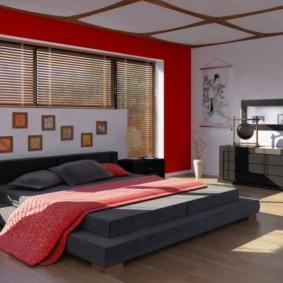 Красный цвет в интерьере спальни китайского стиля