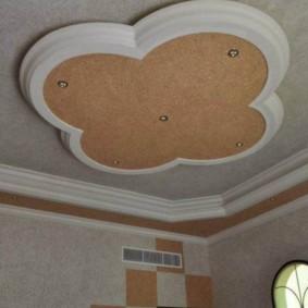 Потолок из гипсокартона в интерьере кухни