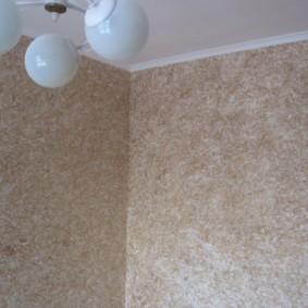 Фактурная поверхность стен при отделке жидкими обоями