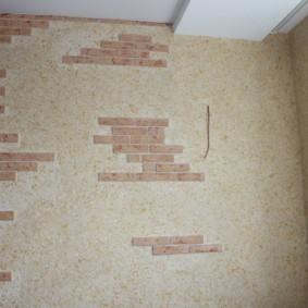 Декор стены плиткой под кирпичик