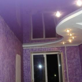 Фиолетовое полотно натяжного потолка