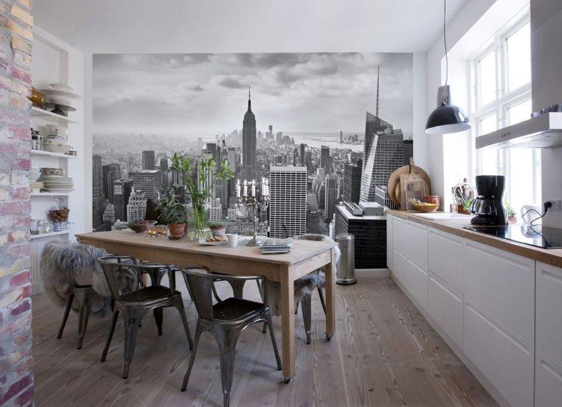 Практичная кухня с фотообоями на стене