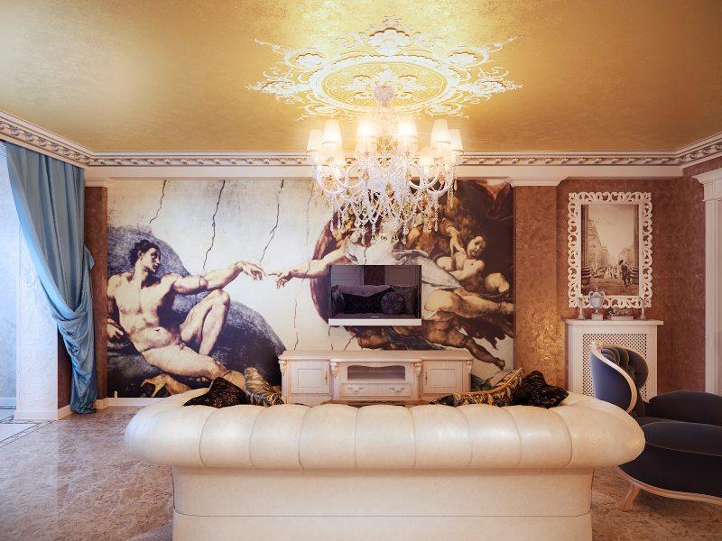 фотообои в гостиной декор идеи