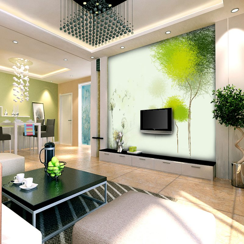 фотообои в гостиной дизайн фото