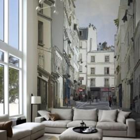 фотообои в гостиной дизайн идеи