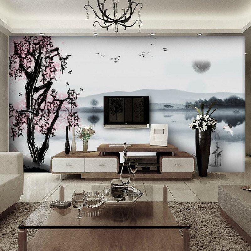 фотообои в гостиной дизайн
