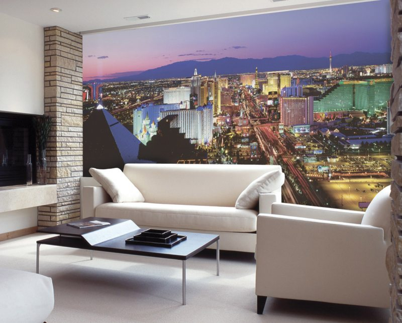 фотообои в гостиной фото интерьер