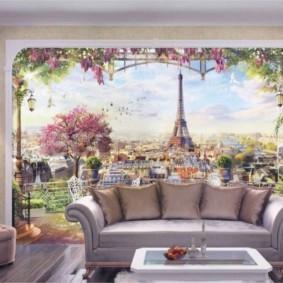 фотообои в гостиной идеи декор