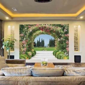 фотообои в гостиной идеи декора