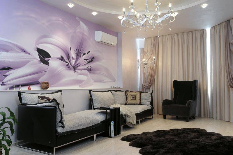фотообои в гостиной фото дизайн