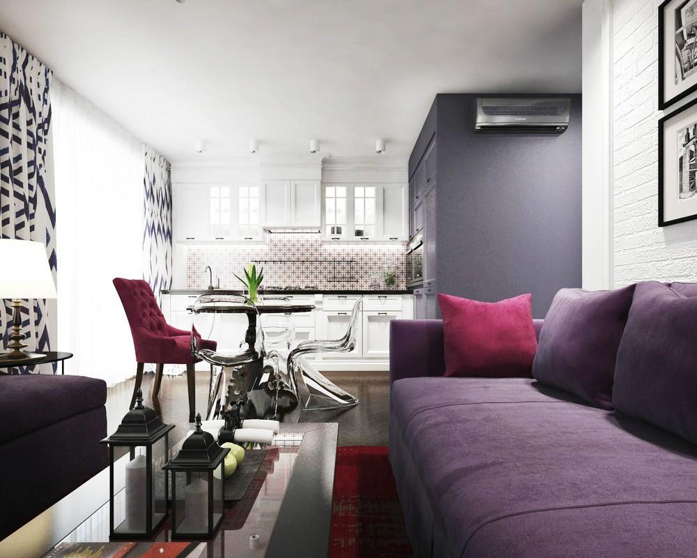 Фиолетовая обивка дивана в общей комнате